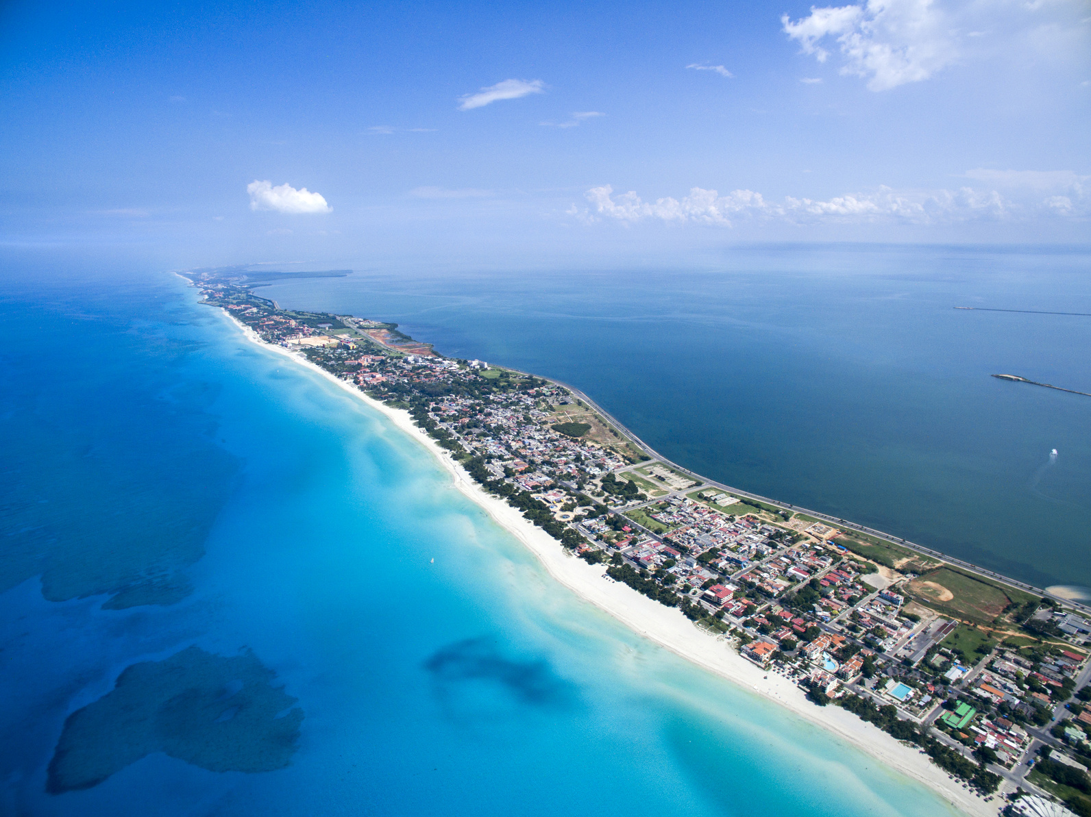 Aerial image of white sandy beaches in Varadero Cuba